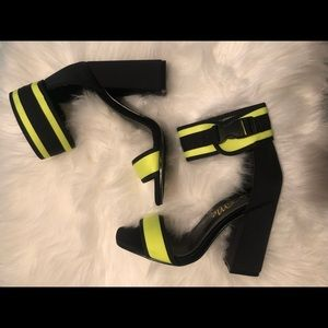 Neon green/black chunky strap heels
